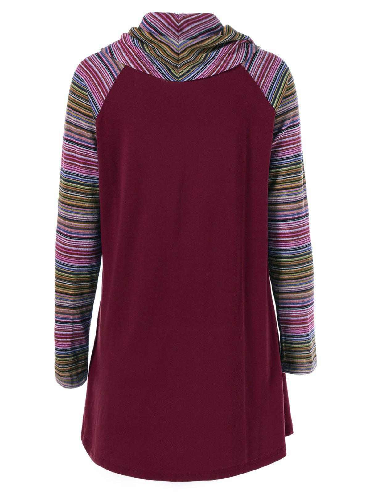 Cowl Neck Colorful Striped T-Shirt - WINE RED XL