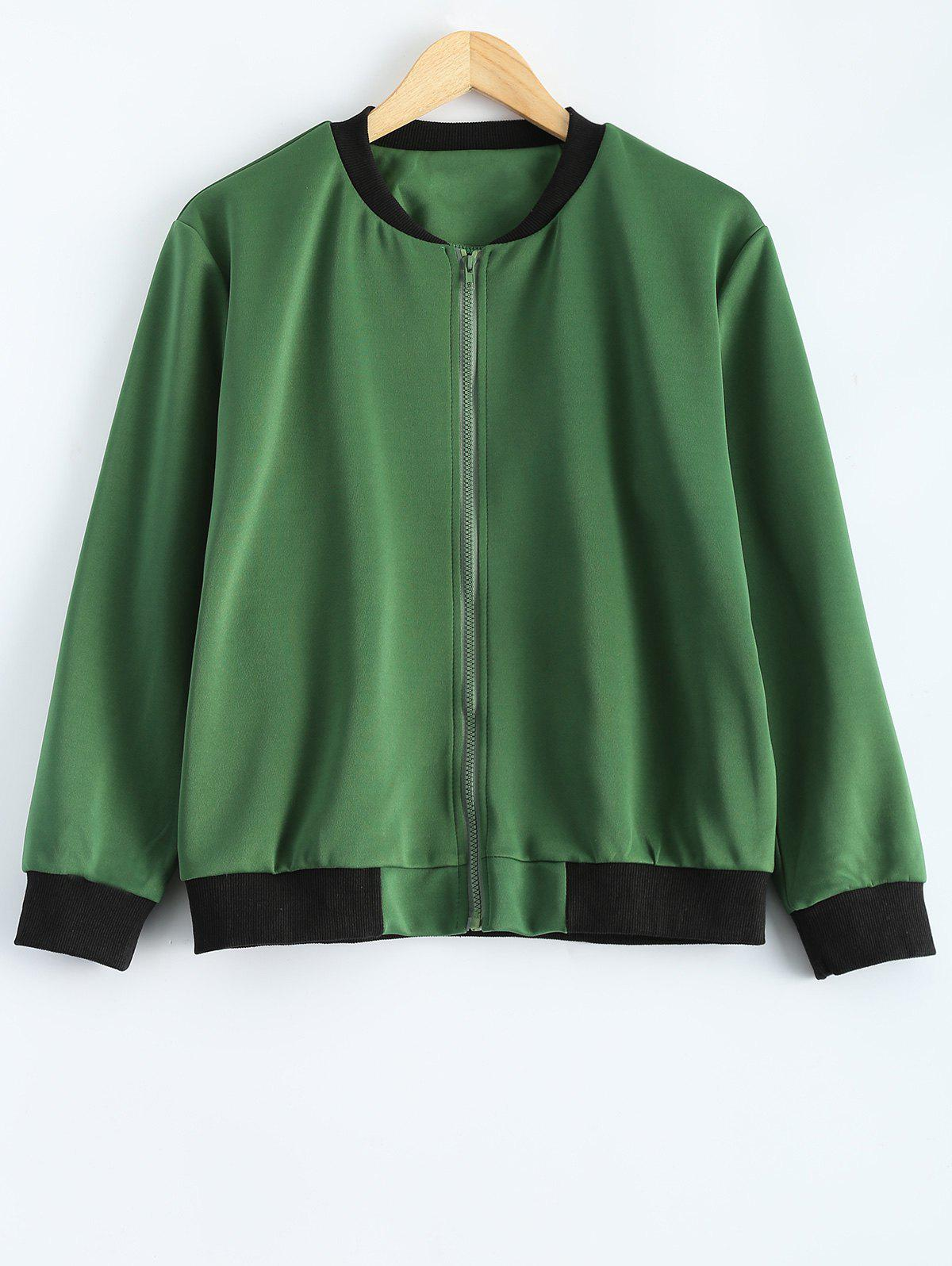 Plus Size  Fitted Bomber JacketWomen<br><br><br>Size: 3XL<br>Color: ARMY GREEN