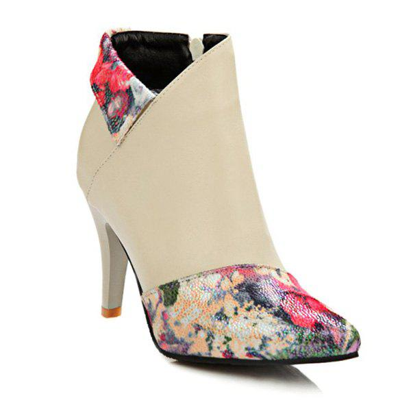 Pointed Toe Color Splicing Floral Print Ankle Boots - BEIGE 39