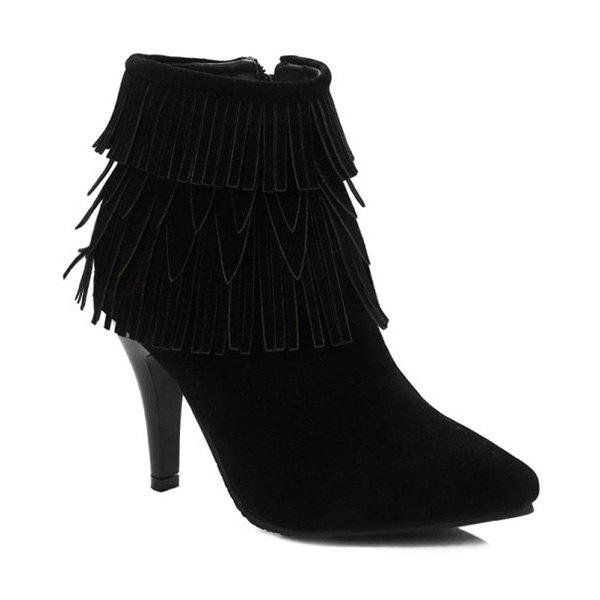 Zipper Stiletto Heel Multilayerer Fringe Ankle Boots - BLACK 37