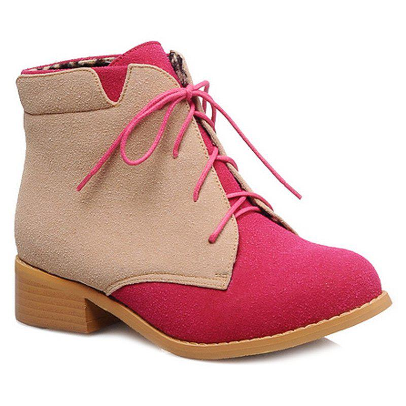 Suede Lace-Up Color Block Boots - ROSE RED 39