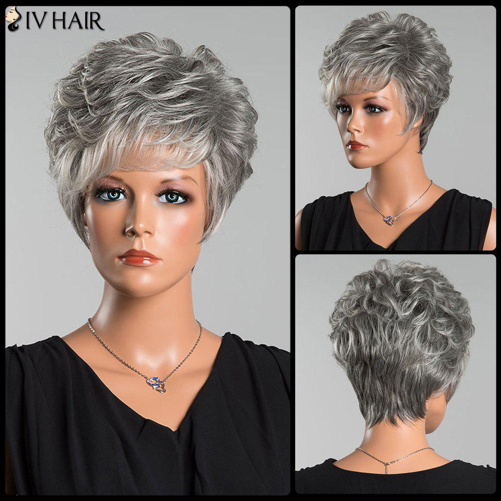 Siv Short Colormix Layered Side Bang Curly Human Hair Wig - COLORMIX