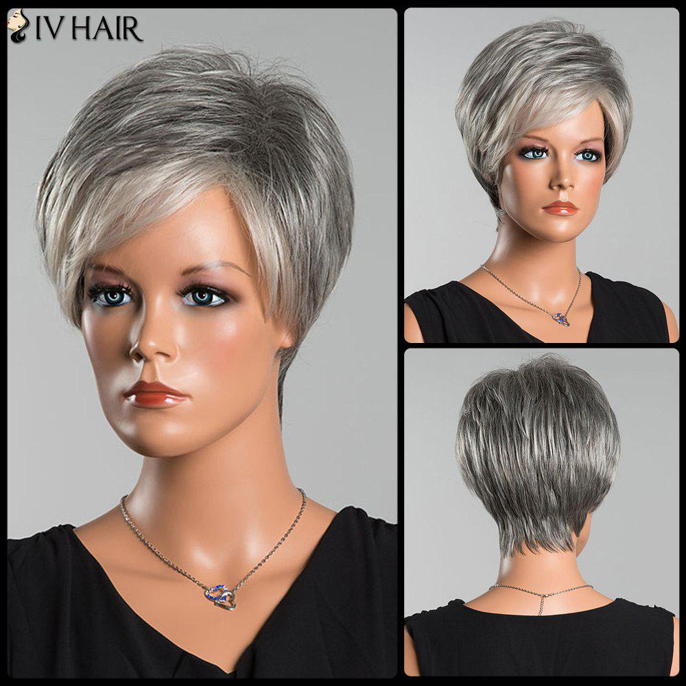 Siv Colormix Short Side Parting Fluffy Straight Human Hair Wig - COLORMIX