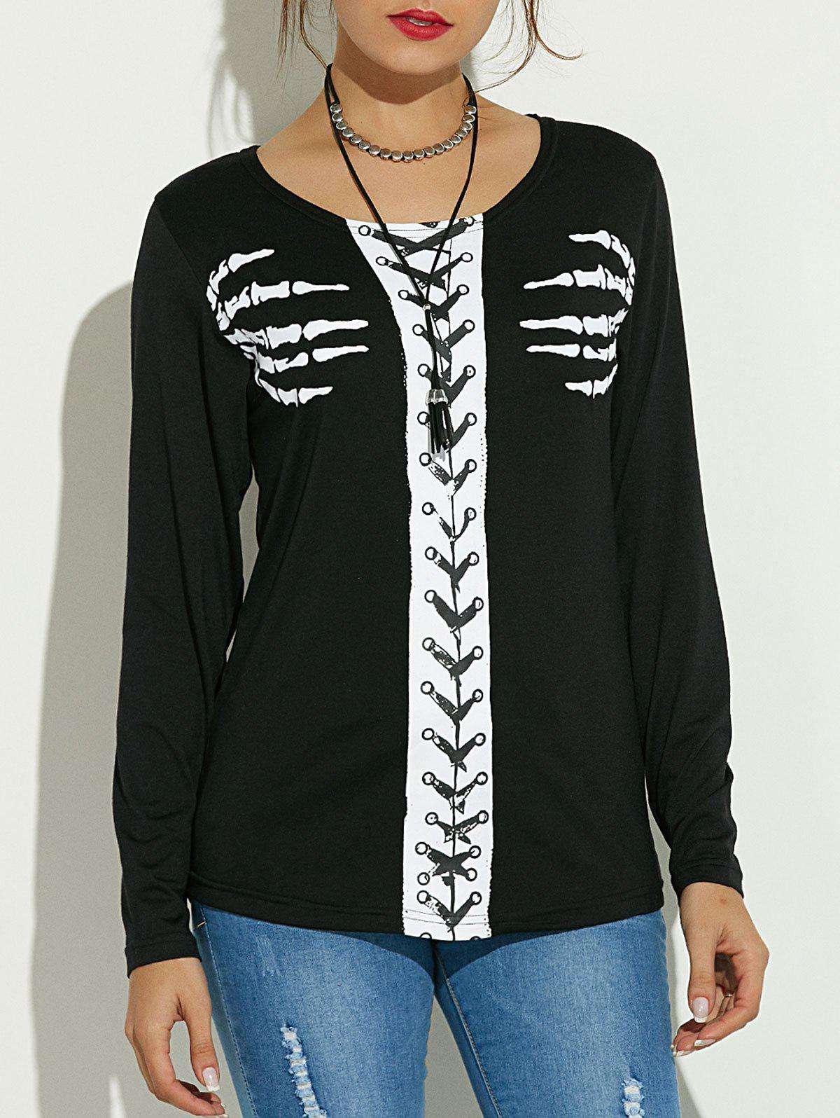 Long Sleeve Skeleton Print Halloween T-ShirtWomen<br><br><br>Size: L<br>Color: BLACK