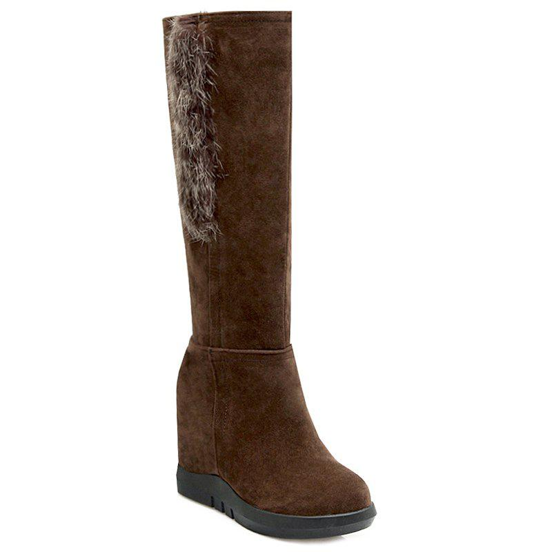 Hidden Wedge Faux Fur Knee-High Boots - DEEP BROWN 37
