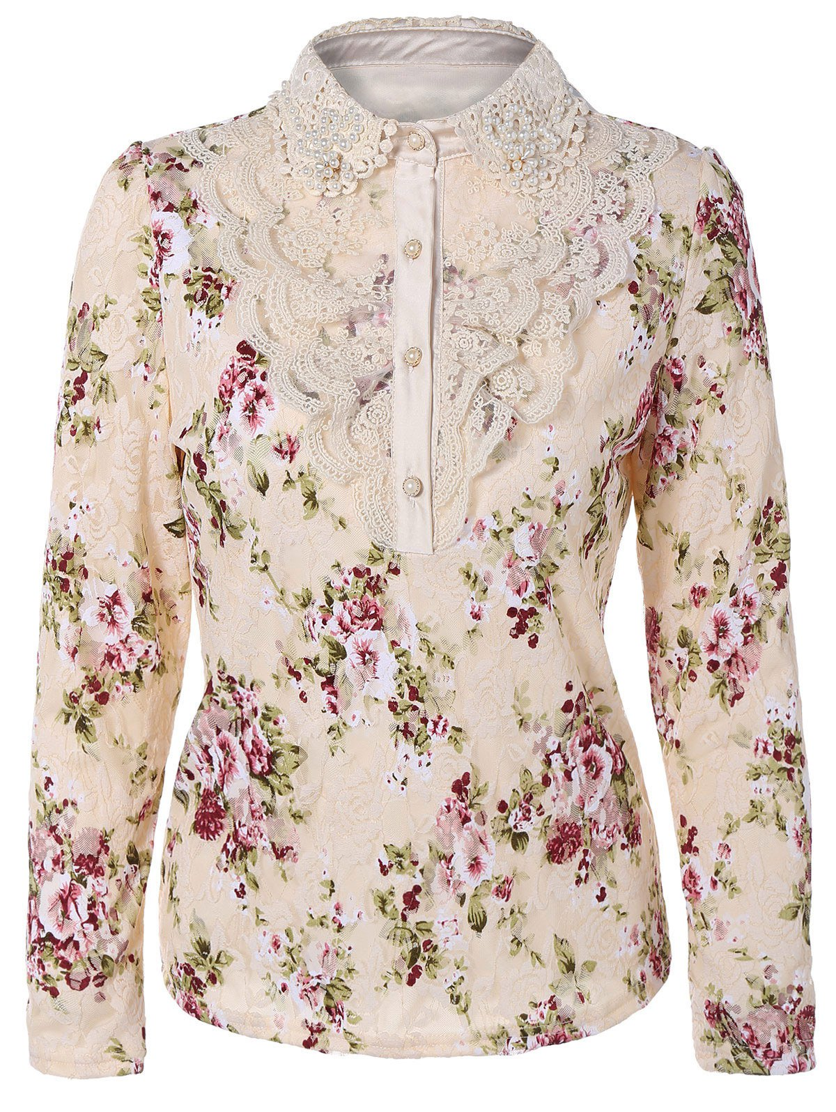 Floral Print Lace Panel Blouse - LIGHT APRICOT L