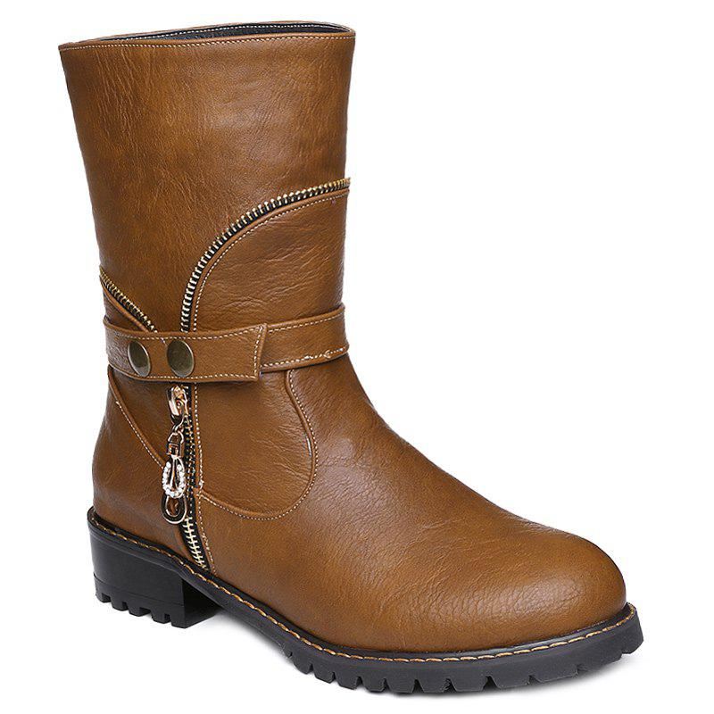 Retro Zip Embellished Mid-Calf Boots - BROWN 40