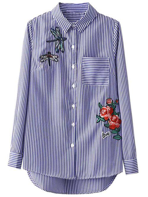 Striped High Low Dragonfly Embroidered Shirt - BLUE/WHITE S