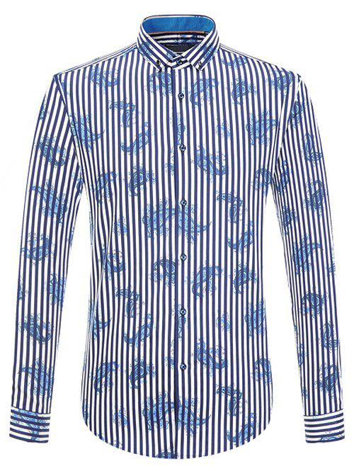 Long Sleeve Vertical Stripe and Paisley Print Button-Down Shirt