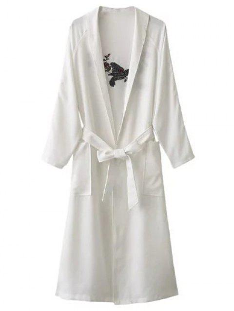 Floral Embroidered Side Slit Belted Maxi Long Duster Coat - WHITE ONE SIZE