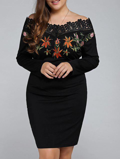 Plus Size Embroidered Off The Shoulder Sheath Dress - BLACK 2XL