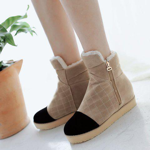 Increased Internal Color Splicing Ankle Boots - LIGHT KHAKI 38