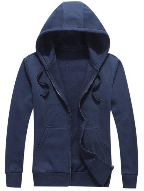 Zipper Fly Pocket Fleece Hoodie - Bleu Foncé 2XL