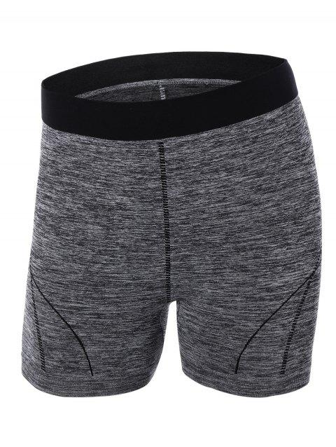 Color Block Yoga Shorts - GRAY S