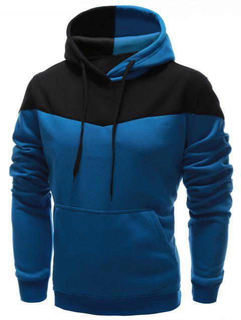 IZZUMI Classic Color Block Front Pocket Hooded Long Sleeves Men's Hoodie - BLUE L