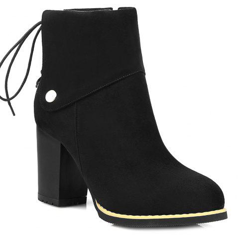 Suede Back Lace-Up Chunky Heel Boots - BLACK 38