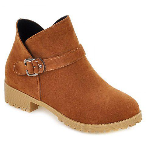 Casual Suede Buckle Strap Ankle Boots - LIGHT BROWN 38
