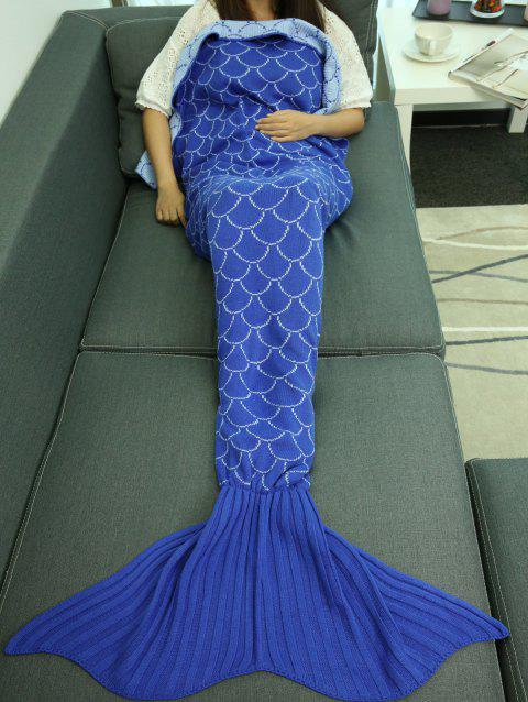 Knitted Fish Scale Pattern Wrap Sofa Mermaid Blanket - BLUE