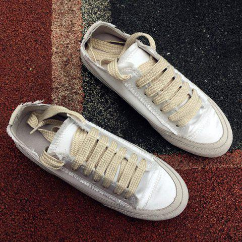 Lace-Up Casual Suede Spliced ​​Satin Sneakers - Blanc 39