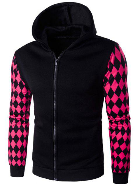 Argyle Print Zip-Up Hoodie - BLACK 2XL
