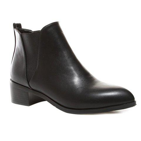 Chunky Heel Elastic Band Ankle Boots - BLACK 38