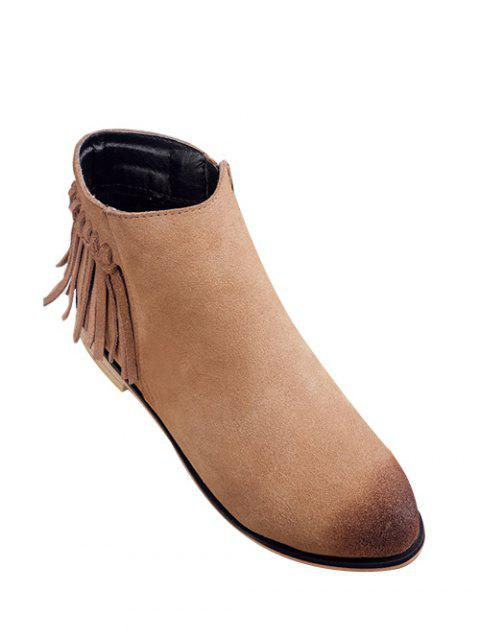 Flat Heel Suede Fringe Boots - LIGHT BROWN 39