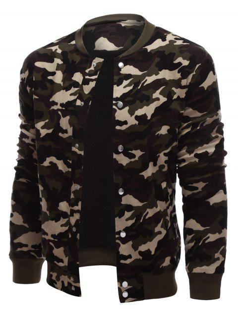Snap Button Up Rib Cuff Camo Jacket - ARMY GREEN CAMOUFLAGE S
