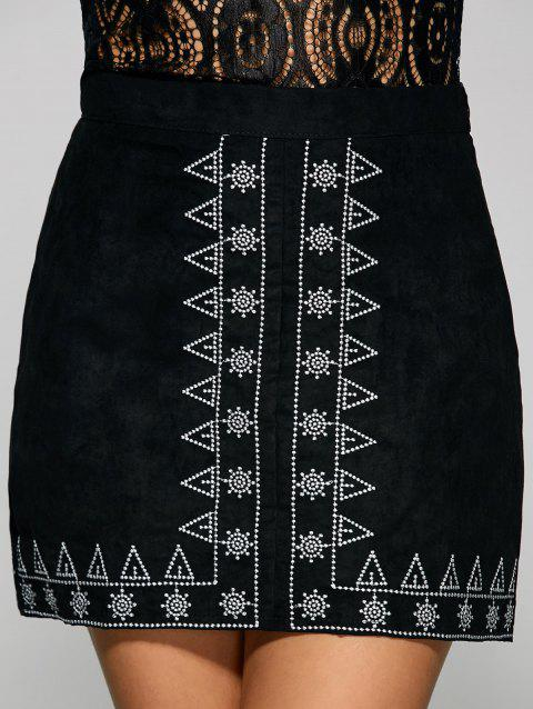 Sun and Small Tree Embroidery Faux Suede Skirt - BLACK L