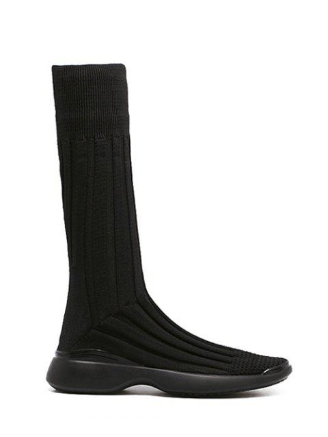 Platform Mid-Calf Knitted Boots - BLACK 39