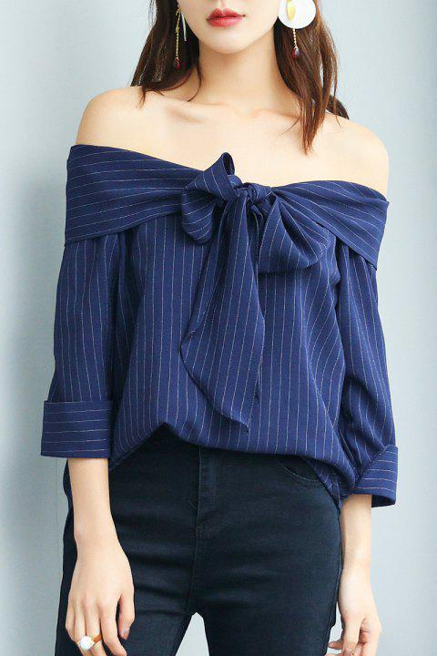 Off The Shoulder Stripe Top with Bow - PURPLISH BLUE S