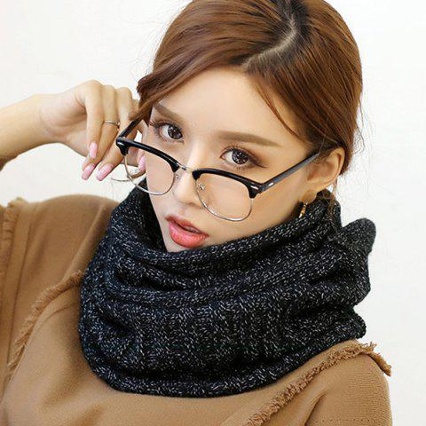 Pure Color Knitted Infinity Scarf - BLACK