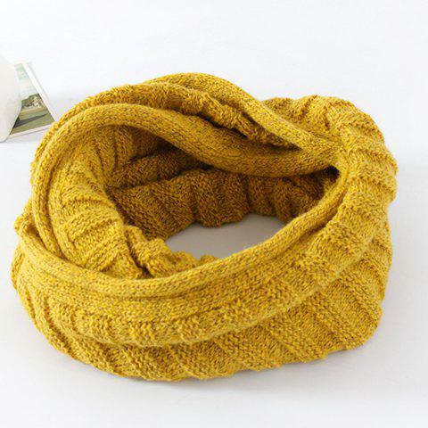 Pure Color Knitted Infinity Scarf - YELLOW OCHER