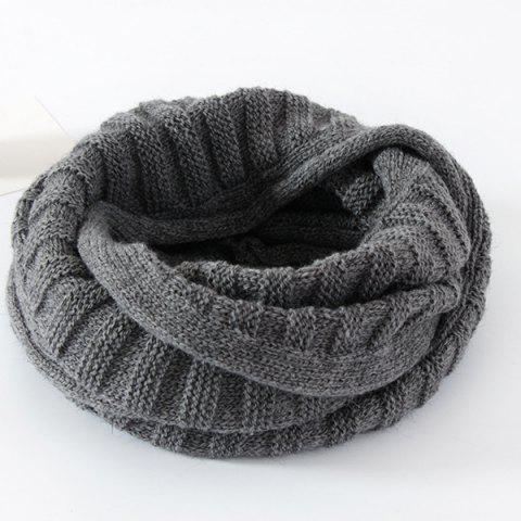 Pure Color Knitted Infinity Scarf - GRAY