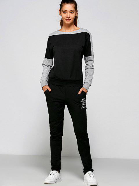 Casual Letter Print Sweatshirt+Pants - BLACK 2XL