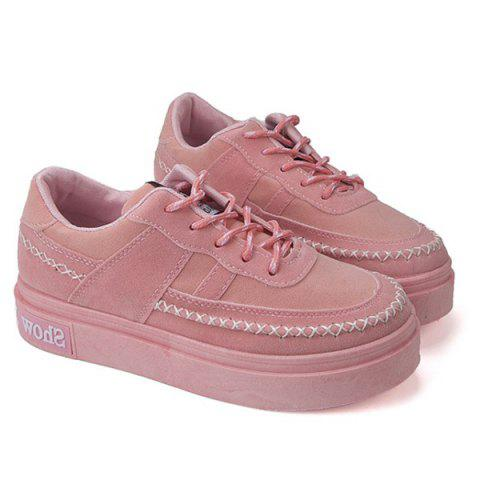Lace Up Stitching Platform Suede Shoes - Rose 37