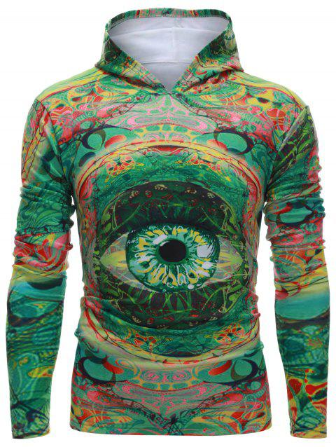 Capuche manches longues Colorful Eye Imprimer Hoodie - Vert S