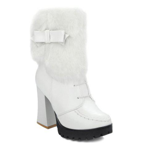 Stitching Bowknot Faux Fur Short Boots - WHITE 38