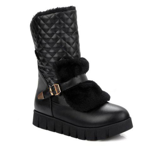 Argyle Pattern Faux Fur Snow Boots - BLACK 38