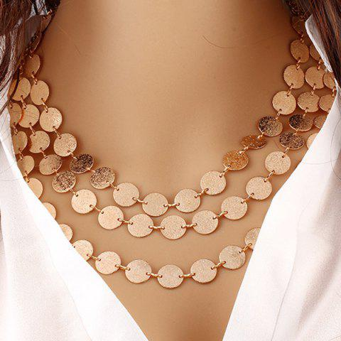 Layered Alloy Disc Circle Sequins Necklace - GOLDEN