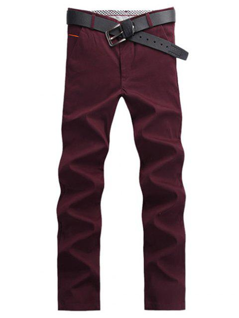 Casual Straight Leg Button Pocket Chino Pants - WINE RED 30