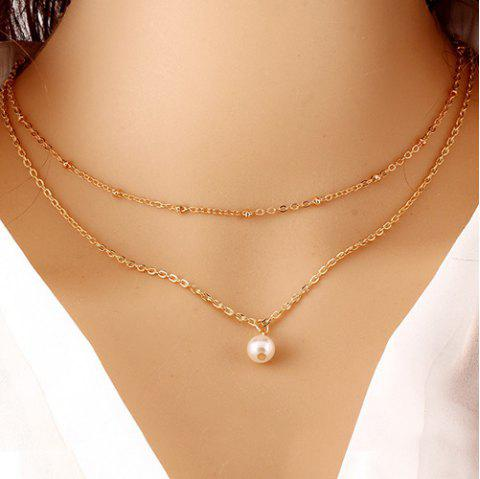 2f62c1a526 41% OFF] 2019 Layered Faux Pearl Pendant Necklace In GOLDEN   DressLily