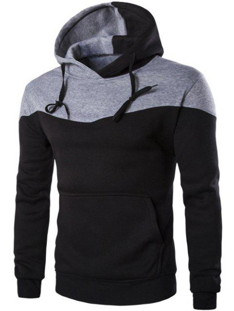 Kangaroo Pocket Contrast Color Pullover Hoodie - BLACK M