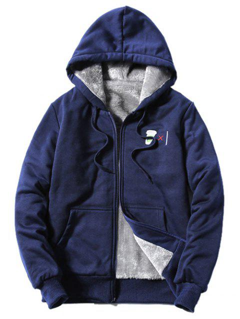 Hooded Zip-Up Coffee Cup Embroidered Fleece Hoodie - CADETBLUE 3XL