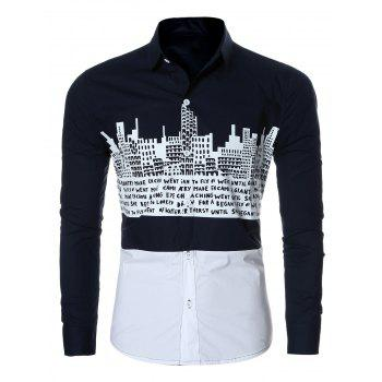 Letter Building Print Spliced Long Sleeve Men's Shirt