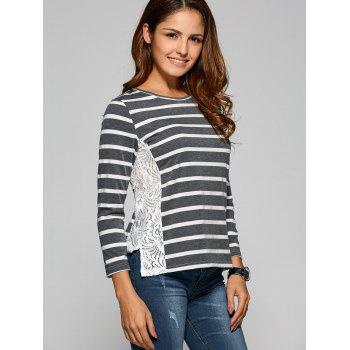 Side Slit Lace Panel Striped T-Shirt - DEEP GRAY DEEP GRAY