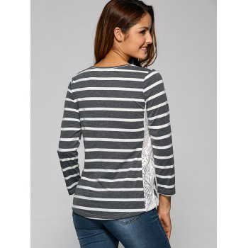 Side Slit Lace Panel Striped T-Shirt - M M