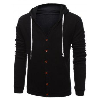 Hooded Drawstring Single-Breasted Hoodie
