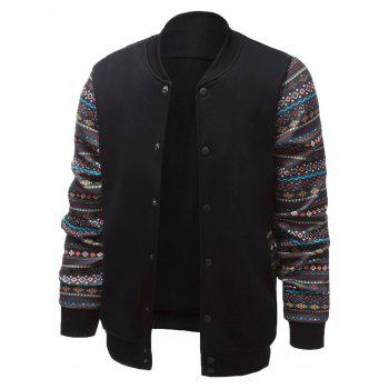 Ethnic Style Geometric Print Splicing Stand Collar Jacket