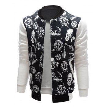 Skull Pirate Print Stand Collar Jacket