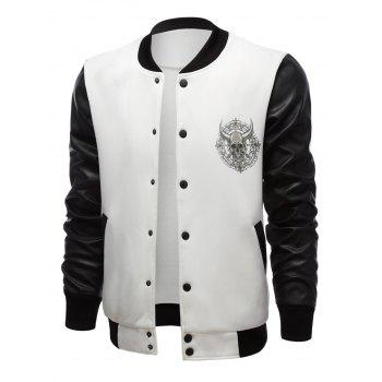 Skull Print Color Block Stand Collar PU-Leather Spliced Jacket